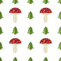 Modèle sans soudure coloré de champignons et sapin découpé dans du papier