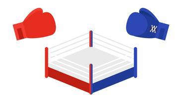 Anneau de boxe entre gants de boxe rouges et bleus