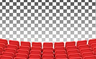 sièges rouges vides sur le modèle isolé de film de théâtre avant vecteur
