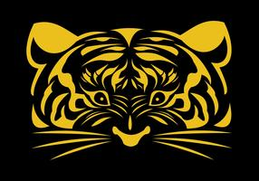 logo de visage d'or de tigre