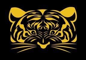 logo de visage d'or de tigre vecteur