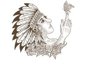 fille amérindienne et papillon dessinée à la main