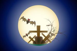 Happy Halloween Grave Bat volant dans la lune scène dégradé de fond bleu