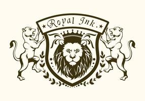 logo lion royal à l'encre vecteur