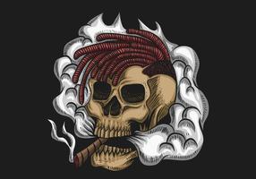 Illustration vectorielle de crâne fumée