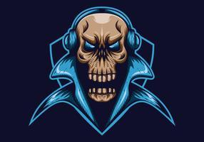 crâne gaming shield mascotte e illustration vectorielle de sport vecteur
