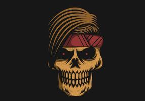 illustration vectorielle de crâne bandeau