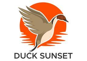 illustration de conception vectorielle canard canard coucher de soleil