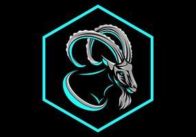 vecteur de logo insigne chèvre hexagonal