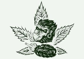 gorille cannabis dessinée à la main vecteur