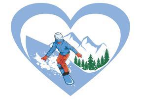 j'aime le ski snowboard vecteur