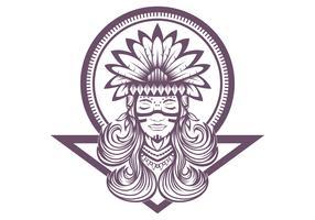 Illustration vectorielle de belle fille amérindienne