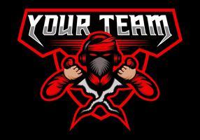 équipe de jeu mascot kris esport vecteur