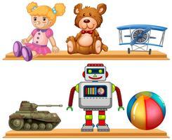 Différents types de jouets sur une étagère en bois vecteur