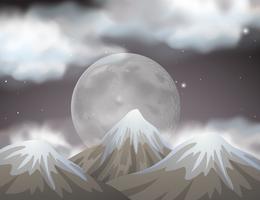 Scène de la nature avec la pleine lune derrière les montagnes vecteur