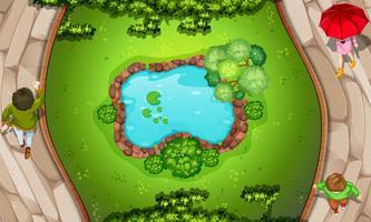 Une vue aérienne du parc vecteur
