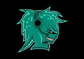 illustration vectorielle de monstre casque gaming mascotte vecteur