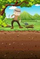 Homme creusant un trou dans le parc vecteur