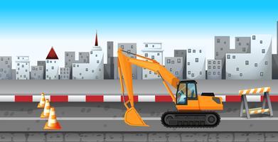 Pelle travaillant à la construction de la route vecteur