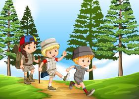 Groupe d'enfants en randonnée dans le parc vecteur