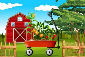 Scène de ferme avec des légumes sur wagon vecteur