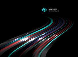 Technologie de perspective abstraite rayé lignes de couleur bleues, rouges avec effet de lumière sur fond noir. vecteur