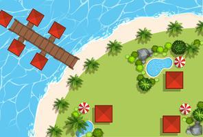 Scène aérienne de cabanes et de la plage