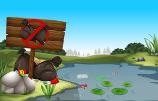 Sale poubelle au bord de l'étang vecteur