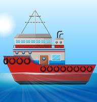 Remorqueur flottant dans l'océan vecteur