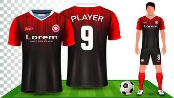 Maillot de soccer, maillot de sport ou maillot de football, modèle de maquette de présentation. vecteur