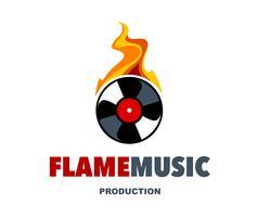 logo musique flamme vecteur