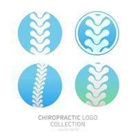 Définir le logo de thérapie manuelle. Chiropratique et autres médecines alternatives. Cabinet de médecin, cours de formation. Illustration de plat dégradé de vecteur