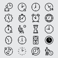 Icône de ligne heure et horloge