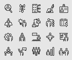 Icône de ligne de ressources humaines vecteur