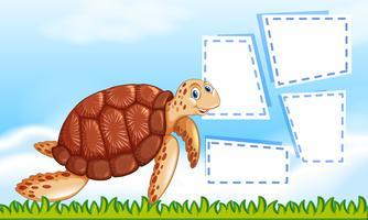 Une tortue sur un modèle de note vecteur