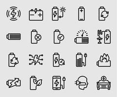 Icône de ligne d'alimentation de la batterie et de l'énergie