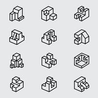 Icône de ligne isométrique de base