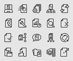 Icône de ligne de flux de documents commerciaux