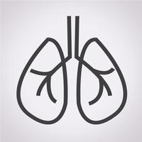 Signe de symbole icône poumons vecteur