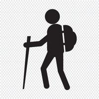 signe de symbole icône de randonnée vecteur
