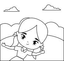 jolie petite fille étudiante en scène de paysage vecteur