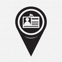 Icône de carte d'identification de pointeur de carte vecteur