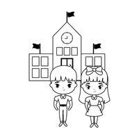 mignons petits étudiants devant l'école vecteur