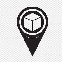 Icône de cube de pointeur de carte