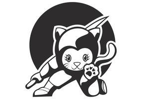 chat ninja mascotte vecteur