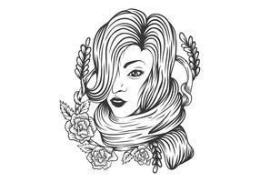 femme rose décoration de fleur vecteur
