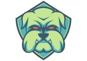 mascotte esport bouclier vert bulldog vecteur