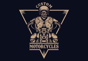 illustration vectorielle de motard homme badge vecteur
