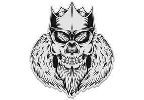 illustration vectorielle de crâne roi autocollant vecteur