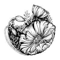 Fleur noir et blanc vecteur